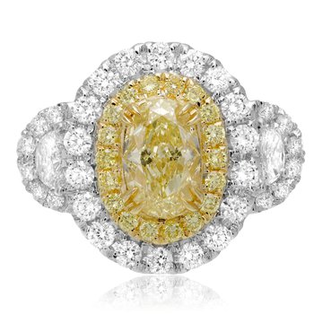 Fancy Yellow Diamond Side Stone Ring