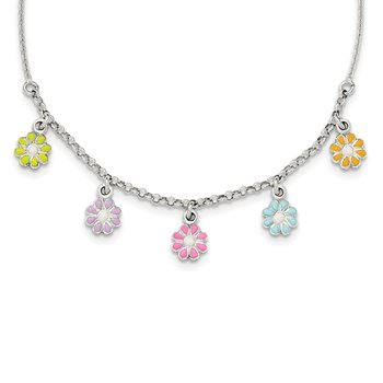 Sterling Silver Polished Enamel Flower Childs Necklace