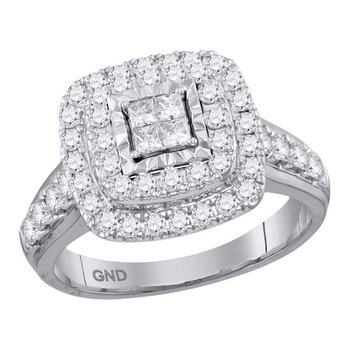 14kt White Gold Womens Princess Diamond Square Cluster Bridal Wedding Engagement Ring 1.00 Cttw