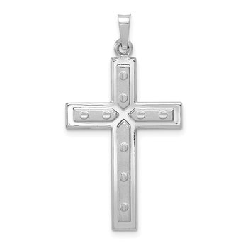 14k White Gold Polished and Satin w/Dots Cross Pendant