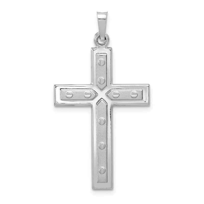 Quality Gold 14k White Gold Polished and Satin w/Dots Cross Pendant