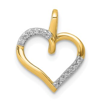 14k White Gold 1/20ct. Diamond Heart Pendant