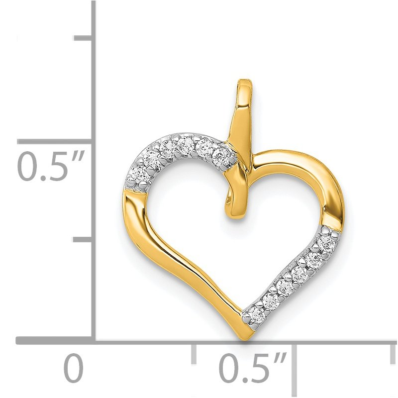 Quality Gold 14k White Gold 1/20ct. Diamond Heart Pendant