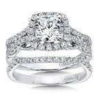 Modernistic Collection Halo Engagement Ring with Diamond Side Stones in 14K White Gold with Platinum Head (1ct. tw.)