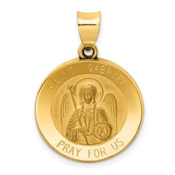 14k Polished and Satin St Gabriel Medal Hollow Pendant