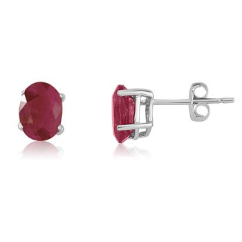14k White Gold Oval Ruby Stud Earring