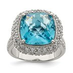 Quality Gold Sterling Silver Rhodium-plated Blue CZ Ring