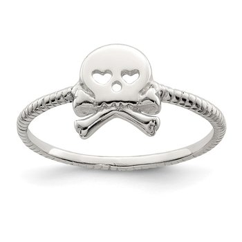 Sterling Silver Polished & Textured Skull & Crossbones Ring