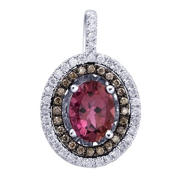 18K 0.35 Ct Diamond & Pink Tourmaline Pendant