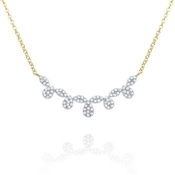 14k Gold and Diamond Floral Curve Necklace