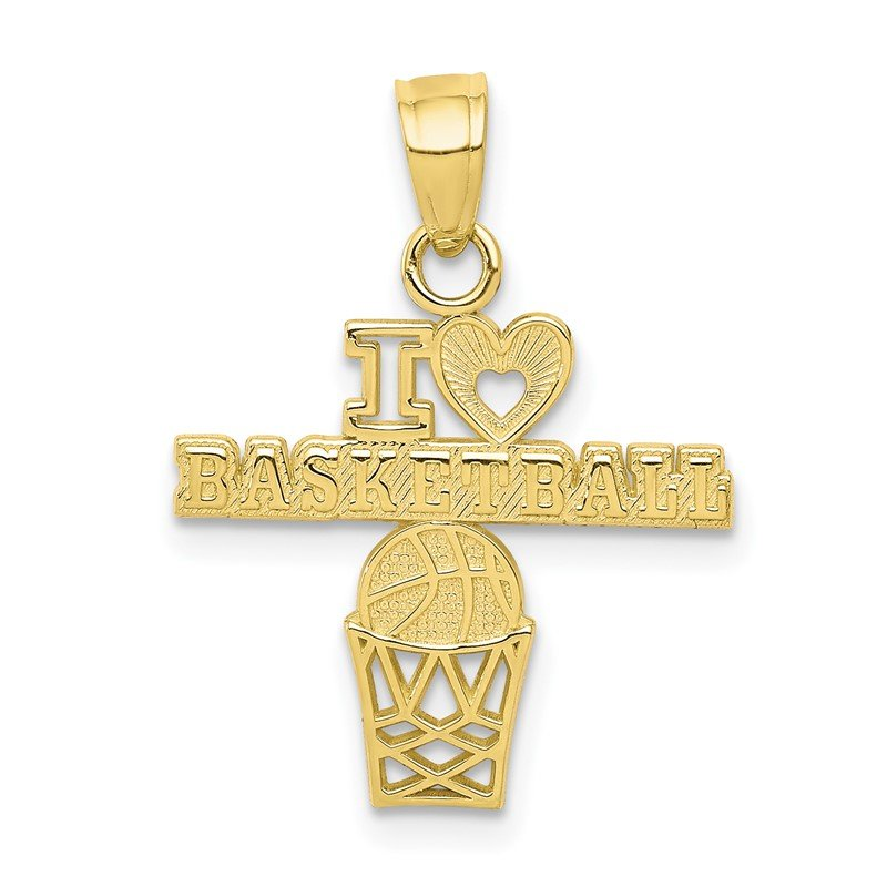 Quality Gold 10K I LOVE BASKETBALL Charm