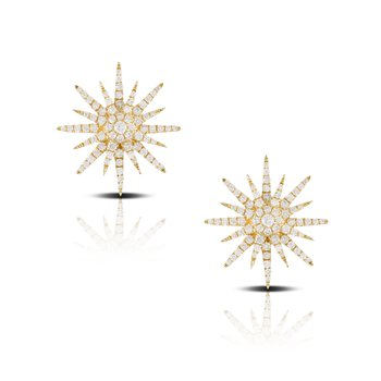 Diamond Sunburst Earrings 18KY