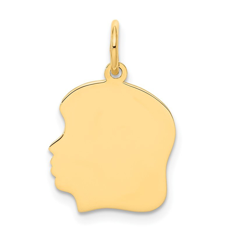 Quality Gold 14k Plain Medium .018 Gauge Facing Left Engravable Girl Head Charm