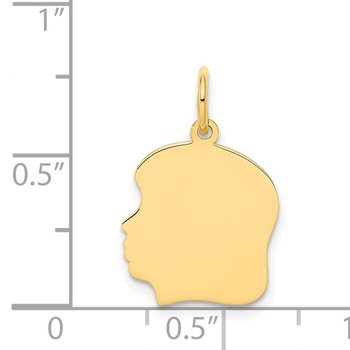 14k Plain Medium .018 Gauge Facing Left Engravable Girl Head Charm