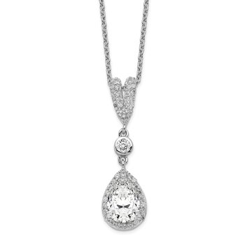 Cheryl M Sterling Silver Rhodium-plated Pear CZ 18in Necklace
