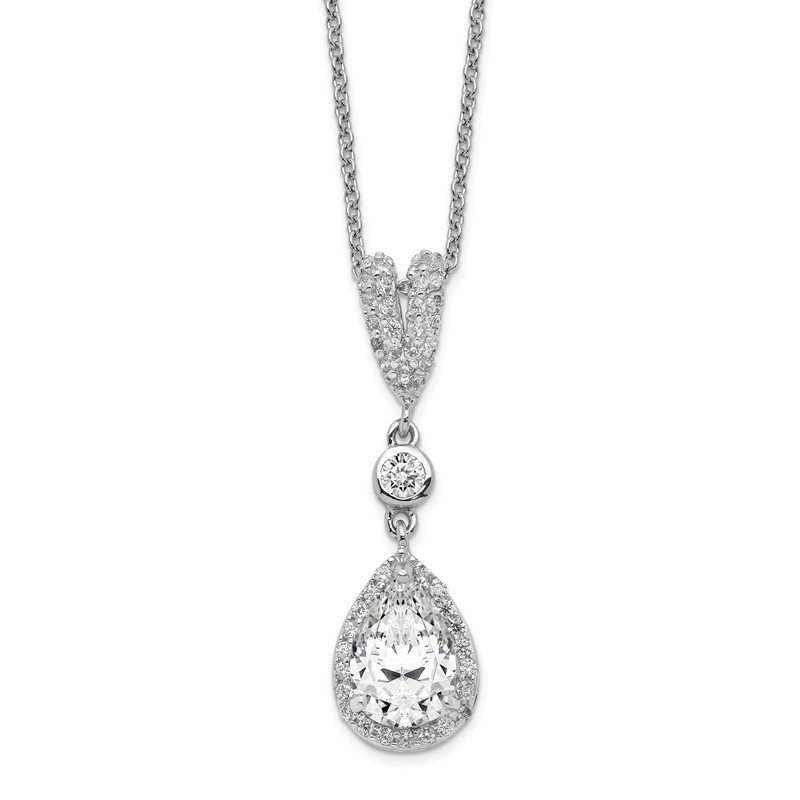 Sparkling Jewels Collection Cheryl M Sterling Silver Rhodium-plated Pear CZ 18in Necklace