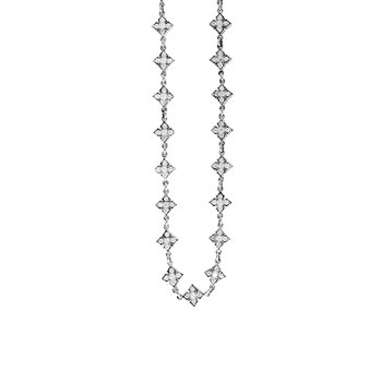 Small Mb Cross Chain Necklace W/ Cz Stones