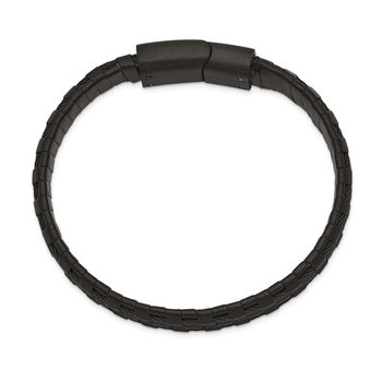 Stainless Steel Brushed and Polished Black IP Leather and Wire Bracelet
