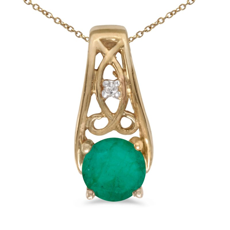 Color Merchants 14k Yellow Gold Round Emerald And Diamond Pendant