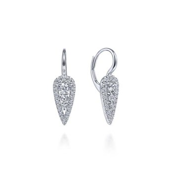 14K White Gold Long Cluster Teardrop Leverback Earrings