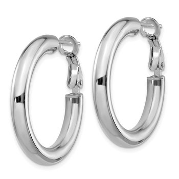 14k White Gold 4x20mm Polished Round Omega Back Hoop Earrings