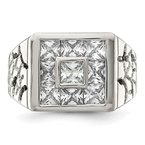 Quality Gold Sterling Silver Rhodium Plated Men's CZ Ring