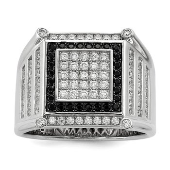 Sterling Silver Brilliant Embers Rhodium-pl CZ Black and White Men's Ring