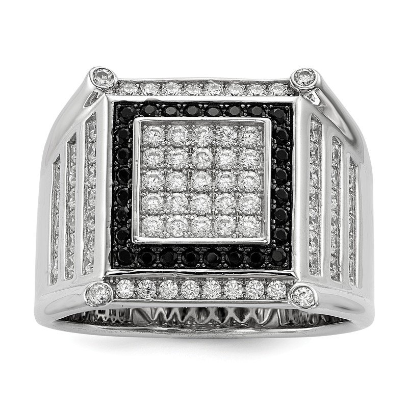 Quality Gold Sterling Silver & CZ Brilliant Embers Black & White Men's Ring