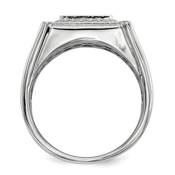 SS Rhodium-Plated CZ Brilliant Embers Black & White Men's Ring
