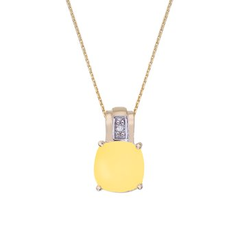 14k Yellow Gold Oval Frosted Cushion Cut Citrine and Diamond Pendant