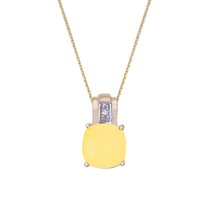 Color Merchants 14k Yellow Gold Oval Frosted Cushion Cut Citrine and Diamond Pendant