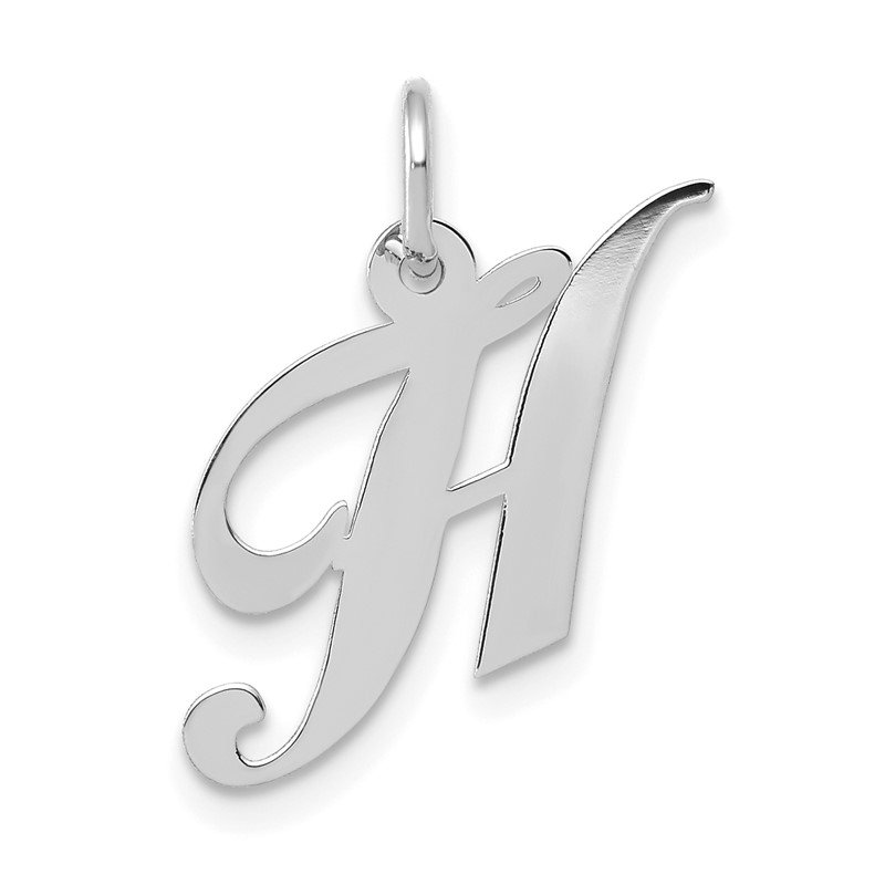 Quality Gold 14k White Gold Small Fancy Script Letter H Initial Charm