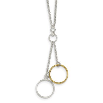 Sterling Silver and Vermeil Polished Fancy Circle Drop Necklace