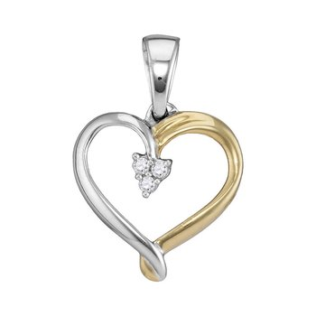 Two-tone Sterling Silver Womens Round Diamond Heart Cluster Pendant 1/20 Cttw