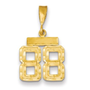 14k Small Diamond-cut Number 88 Charm