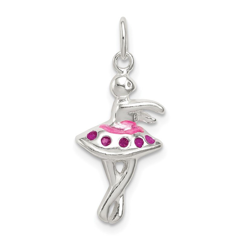 Quality Gold Sterling Silver Enameled Ballerina Charm