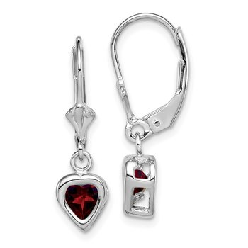 Sterling Silver Rhodium 5mm Heart Garnet Leverback Earrings