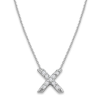 "Diamond Baby Typewriter Initial ""X"" Necklace in 14k White Gold with 9 Diamonds weighing .05ct tw."