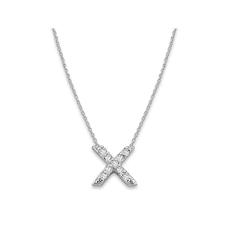 "KC Designs Diamond Baby Typewriter Initial ""X"" Necklace in 14k White Gold with 9 Diamonds weighing .05ct tw."
