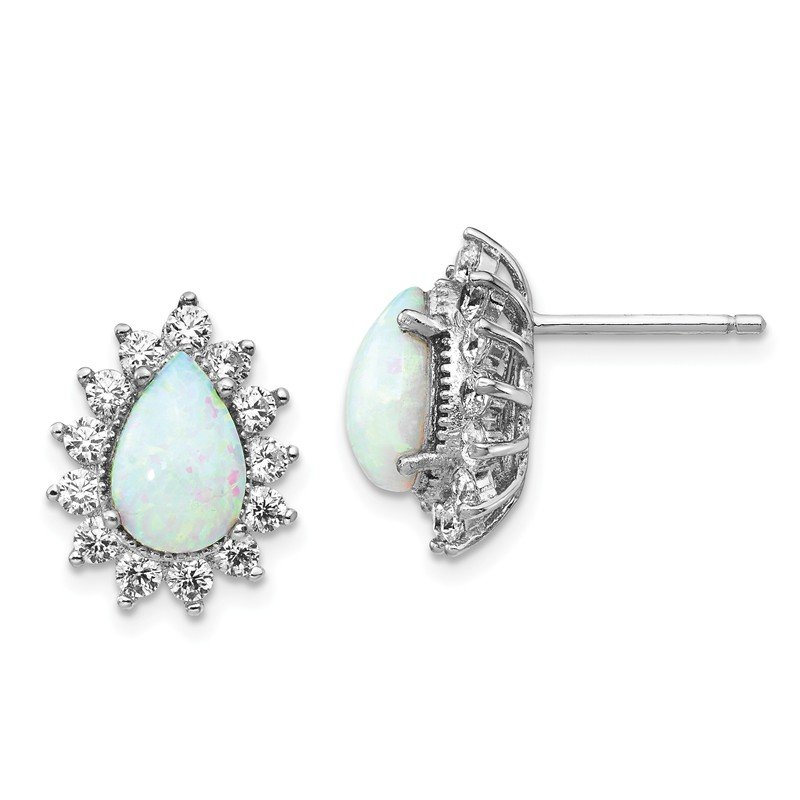 Cheryl M Cheryl M Sterling Silver CZ Lab created Opal Post Earrings