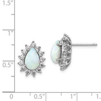 Cheryl M SS Rhodium Plated CZ & Created Opal Pear Shape Post Earrings