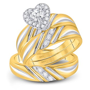 10kt Yellow Gold His & Hers Round Diamond Heart Matching Bridal Wedding Ring Band Set 3/8 Cttw
