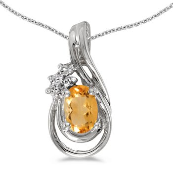 14k White Gold Oval Citrine And Diamond Teardrop Pendant