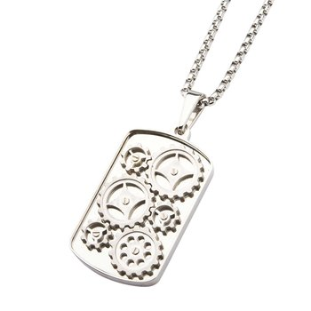 Steel Gear Pendant with Chain