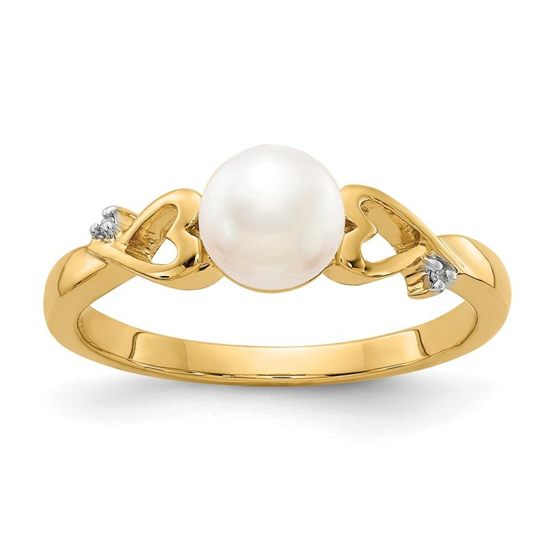 Quality Gold 14k Diamond and Freshwater Cultured Pearl Heart Ring