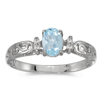 14k White Gold Oval Aquamarine And Diamond Filagree Ring