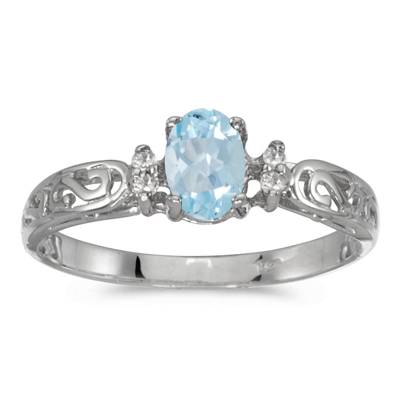 Color Merchants 14k White Gold Oval Aquamarine And Diamond Filagree Ring