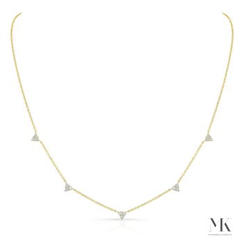 Yellow Gold Triangle Station Necklace