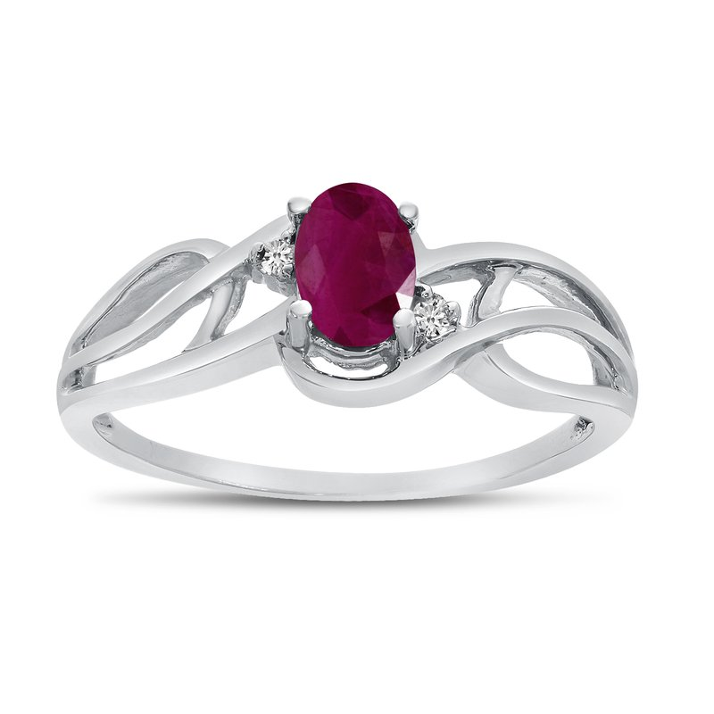 Color Merchants 14k White Gold Oval Ruby And Diamond Curve Ring