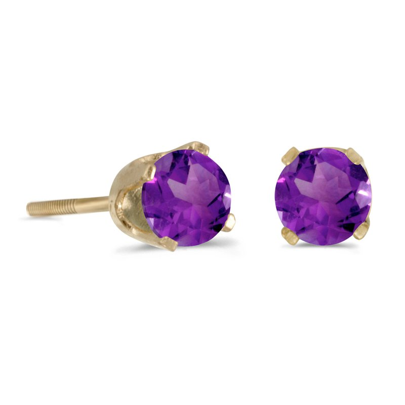 Color Merchants 4 mm Round Amethyst Screw-back Stud Earrings in 14k Yellow Gold